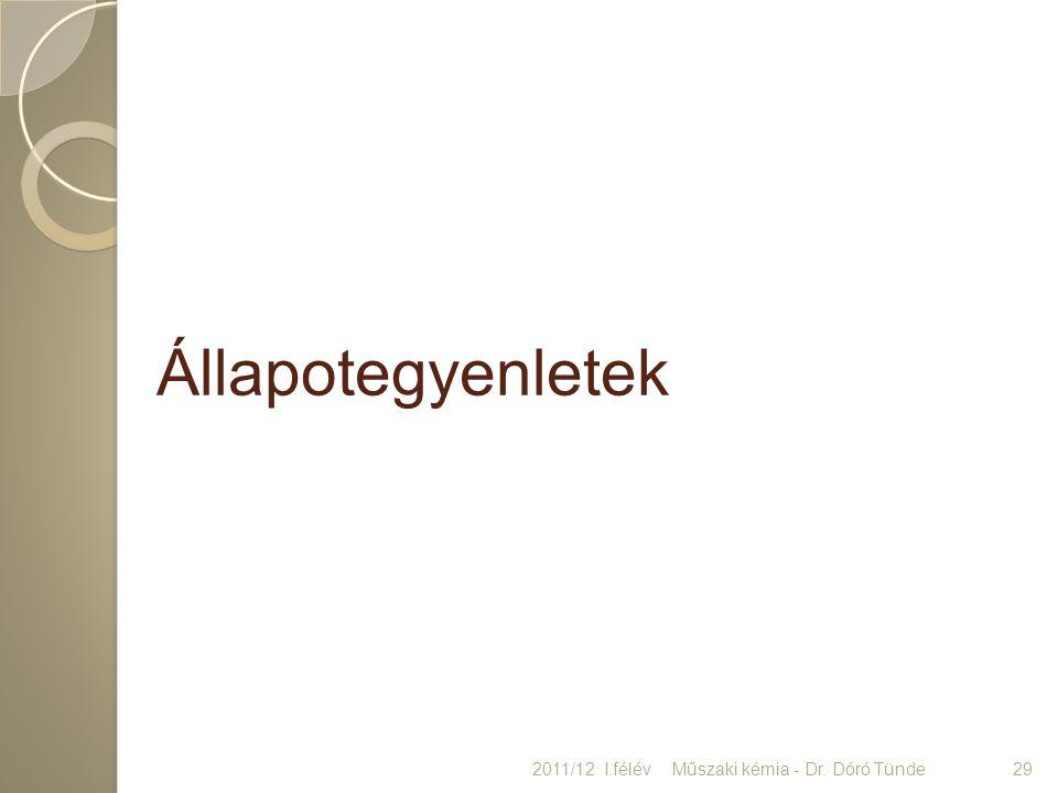 Állapotegyenletek 2011/12 I.félév29Műszaki kémia - Dr. Dóró Tünde