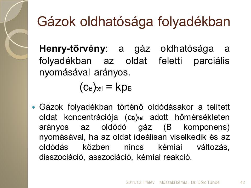Gázok oldhatósága folyadékban Henry-törvény: a gáz oldhatósága a folyadékban az oldat feletti parciális nyomásával arányos. (c B ) tel = kp B Gázok fo