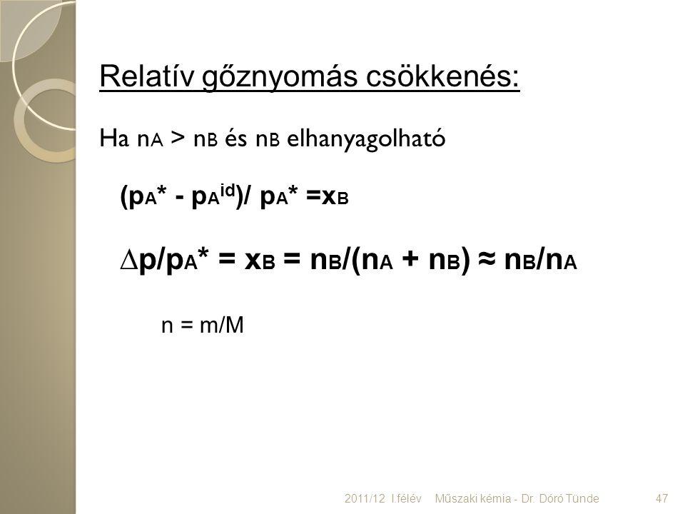 Relatív gőznyomás csökkenés: Ha n A > n B és n B elhanyagolható (p A * - p A id )/ p A * =x B ∆p/p A * = x B = n B /(n A + n B ) ≈ n B /n A n = m/M 20