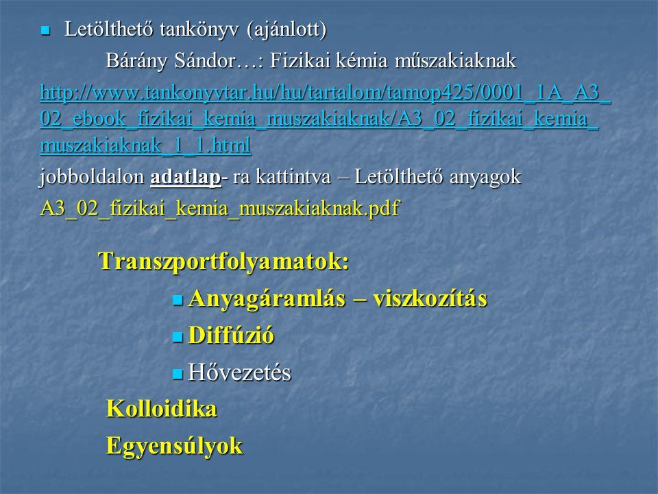 Letölthető tankönyv (ajánlott) Letölthető tankönyv (ajánlott) Bárány Sándor…: Fizikai kémia műszakiaknak http://www.tankonyvtar.hu/hu/tartalom/tamop42