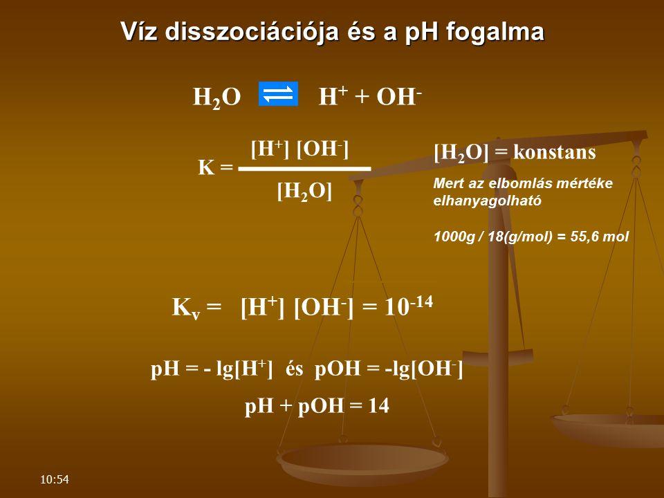 10:54 Víz disszociációja és a pH fogalma H 2 O H + + OH - K v = K = ▬▬▬▬▬▬ [H 2 O] [H + ] [OH - ] Mert az elbomlás mértéke elhanyagolható 1000g / 18(g