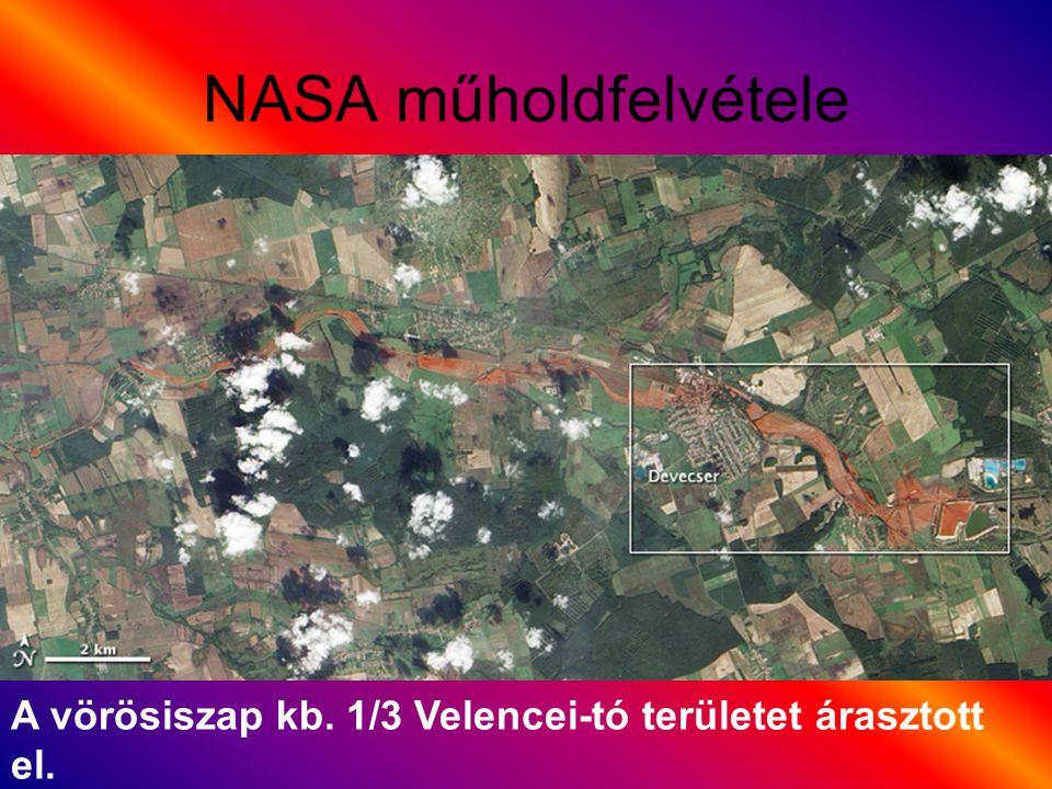 NASA műholdfelvétele A vörösiszap kb. 1/3 Velencei-tó területet árasztott el.