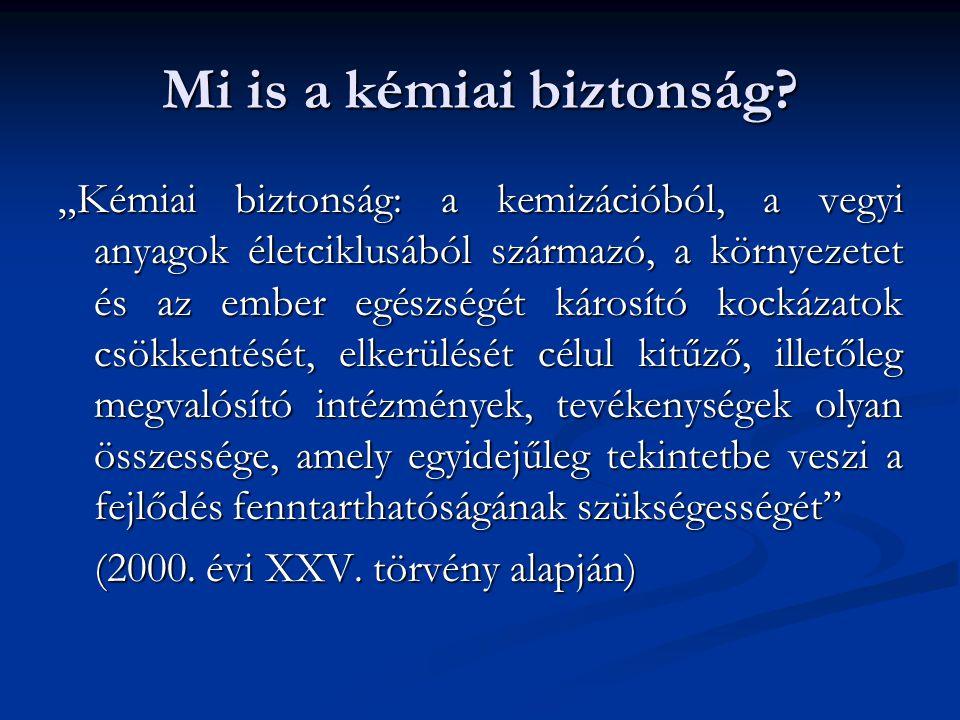 Kémiai biztonság, jelentősége Az Országgyűlés - figyelembe véve az ember legmagasabb szintű testi és lelki egészségéhez, valamint az egészséges környezethez fűződő alapvető alkotmányos jogait - a Magyarországon tartózkodó természetes személyek kémiai biztonsághoz kapcsolódó jogosultságainak biztosítása érdekében, a veszélyes anyagok és veszélyes keverékek káros hatásainak megfelelő módon történő azonosítása, megelőzése, csökkentése, elhárítása, valamint ismertetése céljából a következő törvényt alkotja.