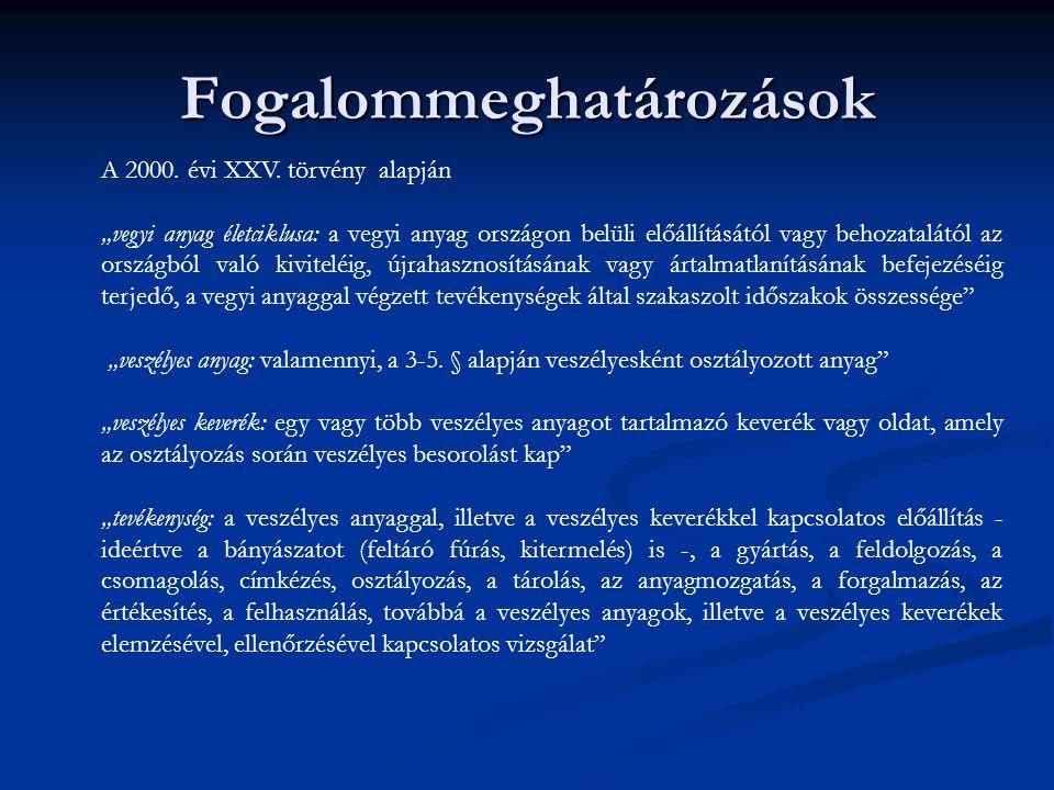 Anyag/keverék – Tevékenység bejelentés 1.Veszélyes anyag/veszélyes keverék bejelentése –gyártó, forgalmazó feladata (OKBI szám, ETTSZ) 2000.