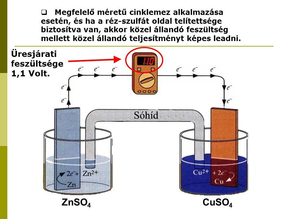 ZnSO 4 CuSO 4 Üresjárati feszültsége 1,1 Volt.  Megfelelő méretű cinklemez alkalmazása esetén, és ha a réz-szulfát oldal telítettsége biztosítva van,