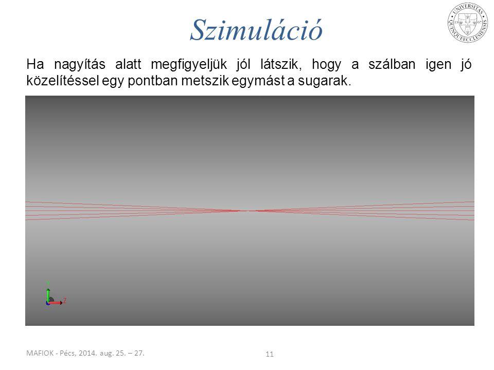 MAFIOK - Pécs, 2014. aug. 25. – 27. Ha nagyítás alatt megfigyeljük jól látszik, hogy a szálban igen jó közelítéssel egy pontban metszik egymást a suga