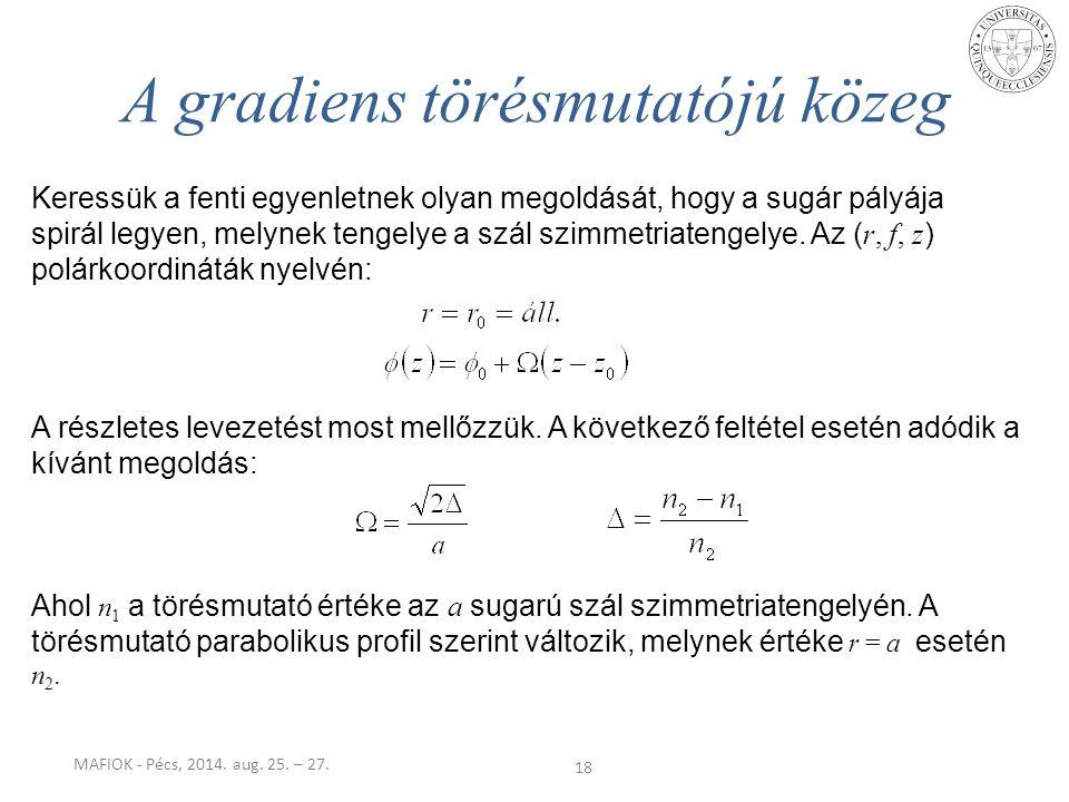 MAFIOK - Pécs, 2014. aug. 25. – 27. 18 A gradiens törésmutatójú közeg Keressük a fenti egyenletnek olyan megoldását, hogy a sugár pályája spirál legye