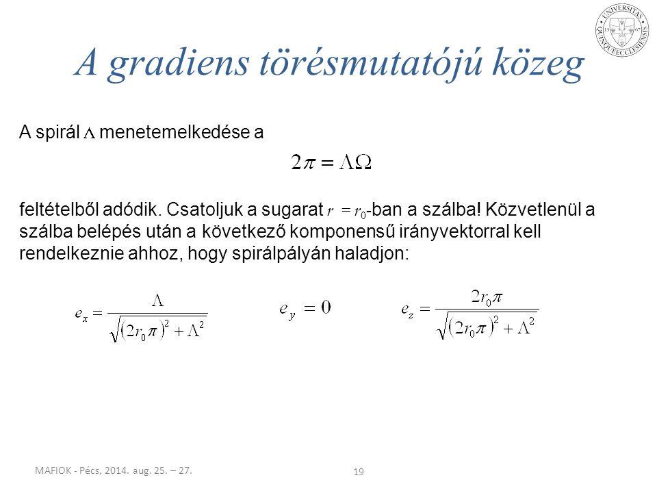 MAFIOK - Pécs, 2014. aug. 25. – 27. 19 A gradiens törésmutatójú közeg A spirál  menetemelkedése a feltételből adódik. Csatoljuk a sugarat r = r 0 - b