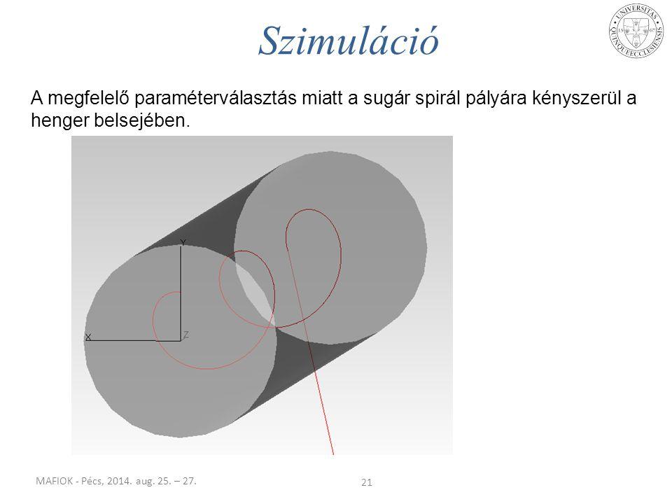 MAFIOK - Pécs, 2014. aug. 25. – 27. A megfelelő paraméterválasztás miatt a sugár spirál pályára kényszerül a henger belsejében. 21 Szimuláció