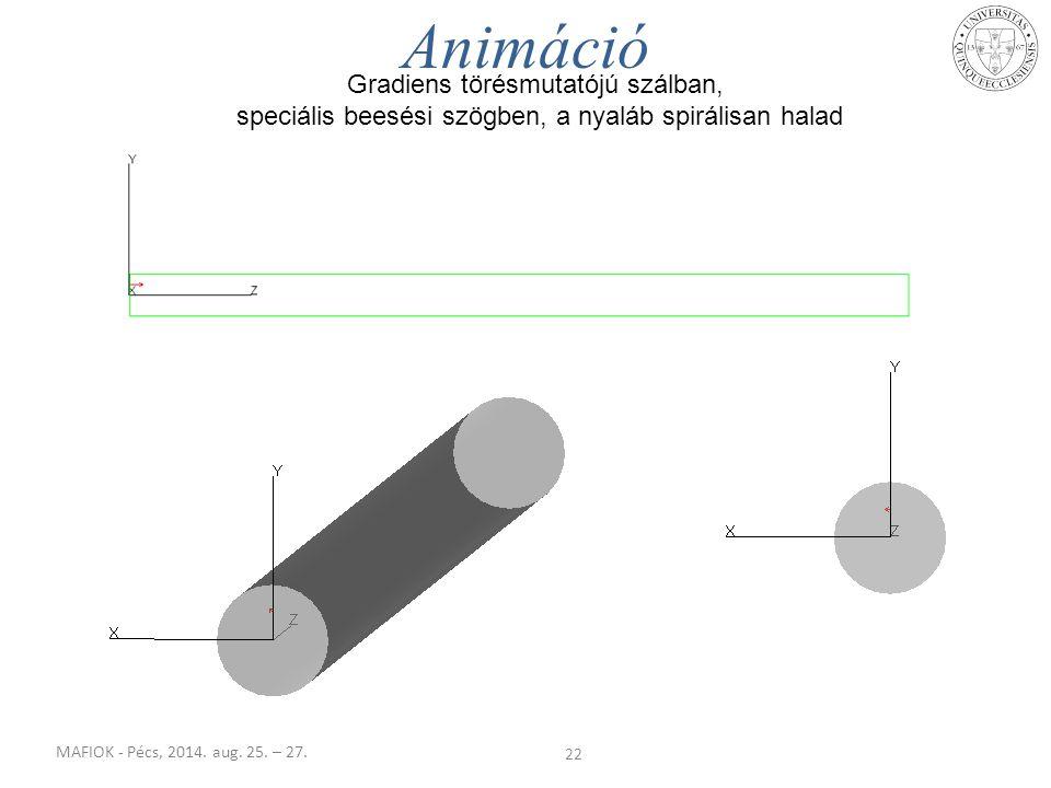 MAFIOK - Pécs, 2014. aug. 25. – 27. 22 Animáció Gradiens törésmutatójú szálban, speciális beesési szögben, a nyaláb spirálisan halad