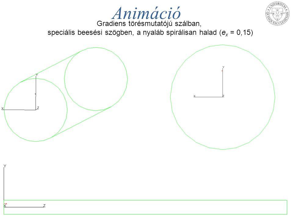 MAFIOK - Pécs, 2014. aug. 25. – 27.TÁMOP-4.1.1.C-12/1/KONV-2012-0005 projekt 23 Animáció Gradiens törésmutatójú szálban, speciális beesési szögben, a