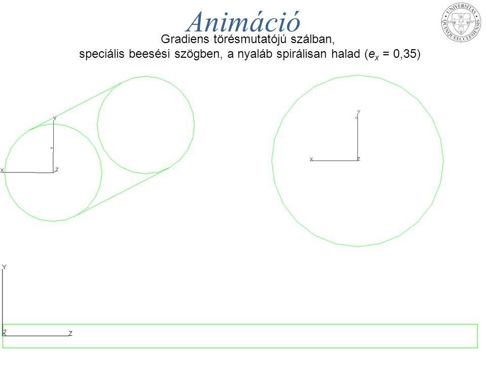 MAFIOK - Pécs, 2014. aug. 25. – 27.TÁMOP-4.1.1.C-12/1/KONV-2012-0005 projekt 24 Animáció Gradiens törésmutatójú szálban, speciális beesési szögben, a