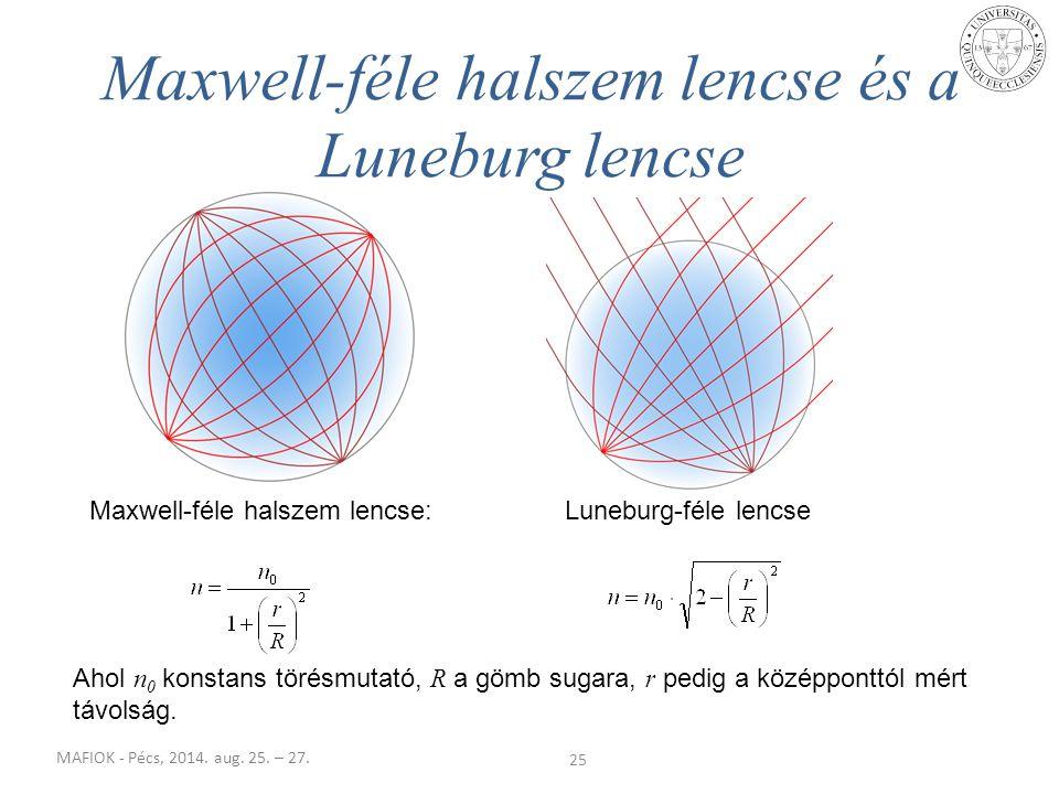 MAFIOK - Pécs, 2014. aug. 25. – 27. 25 Maxwell-féle halszem lencse és a Luneburg lencse Maxwell-féle halszem lencse:Luneburg-féle lencse Ahol n 0 kons