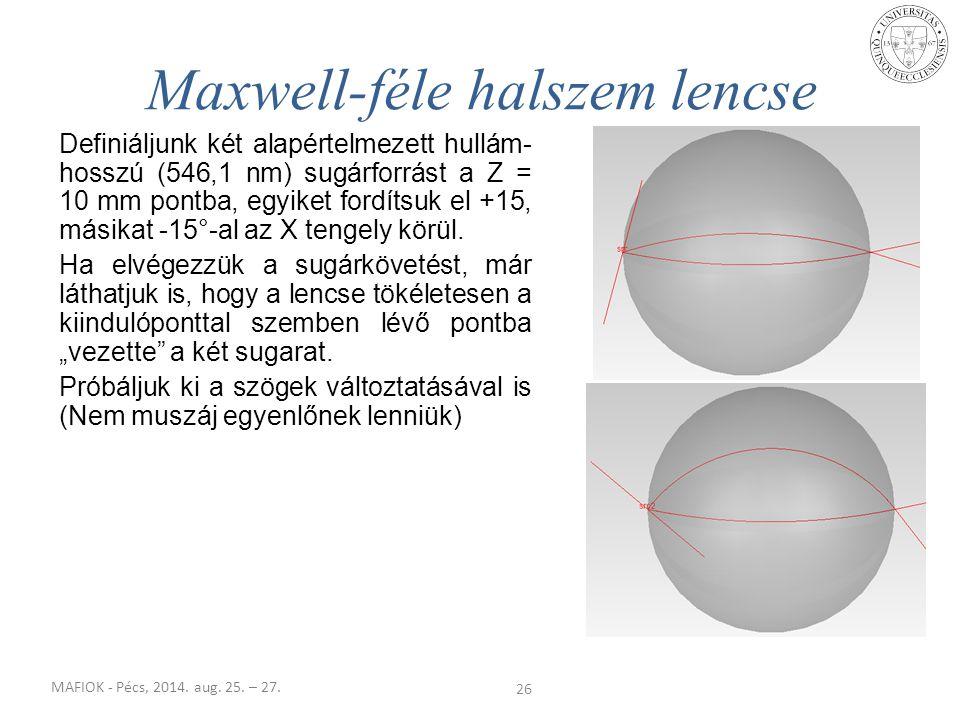 MAFIOK - Pécs, 2014. aug. 25. – 27. Definiáljunk két alapértelmezett hullám- hosszú (546,1 nm) sugárforrást a Z = 10 mm pontba, egyiket fordítsuk el +