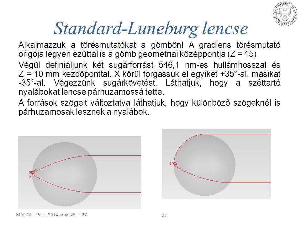 MAFIOK - Pécs, 2014. aug. 25. – 27. Alkalmazzuk a törésmutatókat a gömbön! A gradiens törésmutató origója legyen ezúttal is a gömb geometriai középpon
