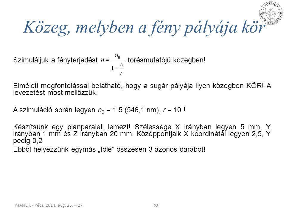 MAFIOK - Pécs, 2014. aug. 25. – 27. Szimuláljuk a fényterjedést törésmutatójú közegben! Elméleti megfontolással belátható, hogy a sugár pályája ilyen