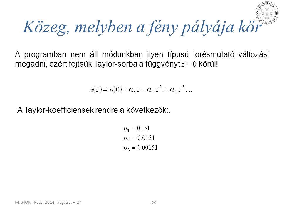 MAFIOK - Pécs, 2014. aug. 25. – 27. 29 A programban nem áll módunkban ilyen típusú törésmutató változást megadni, ezért fejtsük Taylor-sorba a függvén