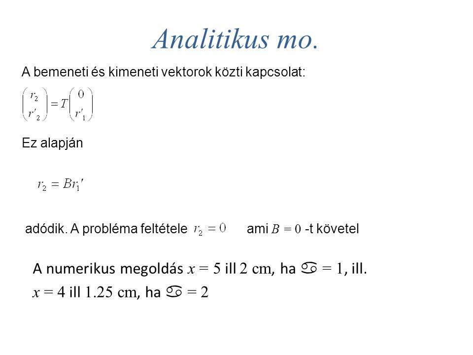 Analitikus mo. A bemeneti és kimeneti vektorok közti kapcsolat: Ez alapján adódik. A probléma feltételeami B = 0 -t követel A numerikus megoldás x = 5