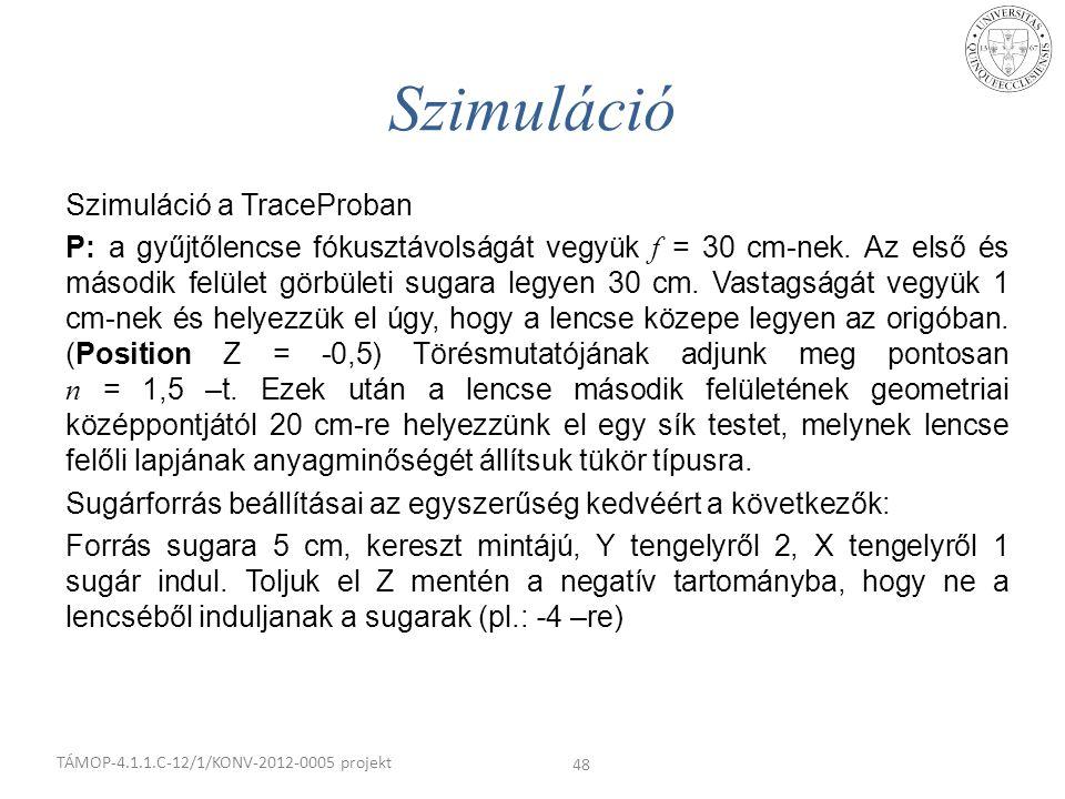 Szimuláció a TraceProban P: a gyűjtőlencse fókusztávolságát vegyük f = 30 cm-nek. Az első és második felület görbületi sugara legyen 30 cm. Vastagságá