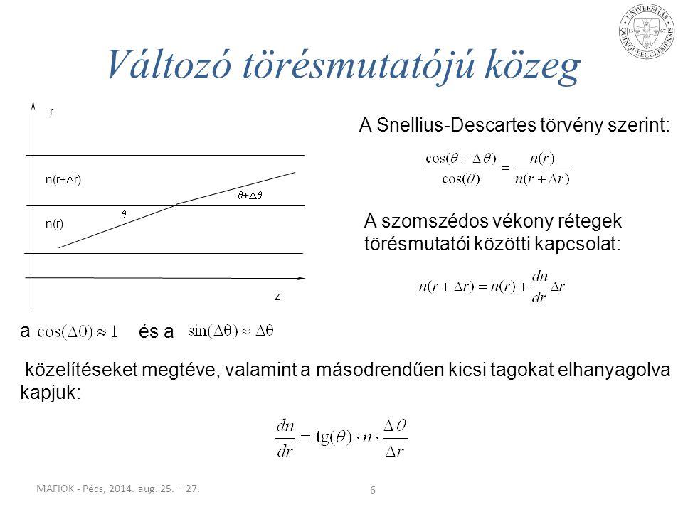 MAFIOK - Pécs, 2014. aug. 25. – 27. 6 Változó törésmutatójú közeg  +   n(r) n(r+  r) r z A Snellius-Descartes törvény szerint: A szomszédos vékon