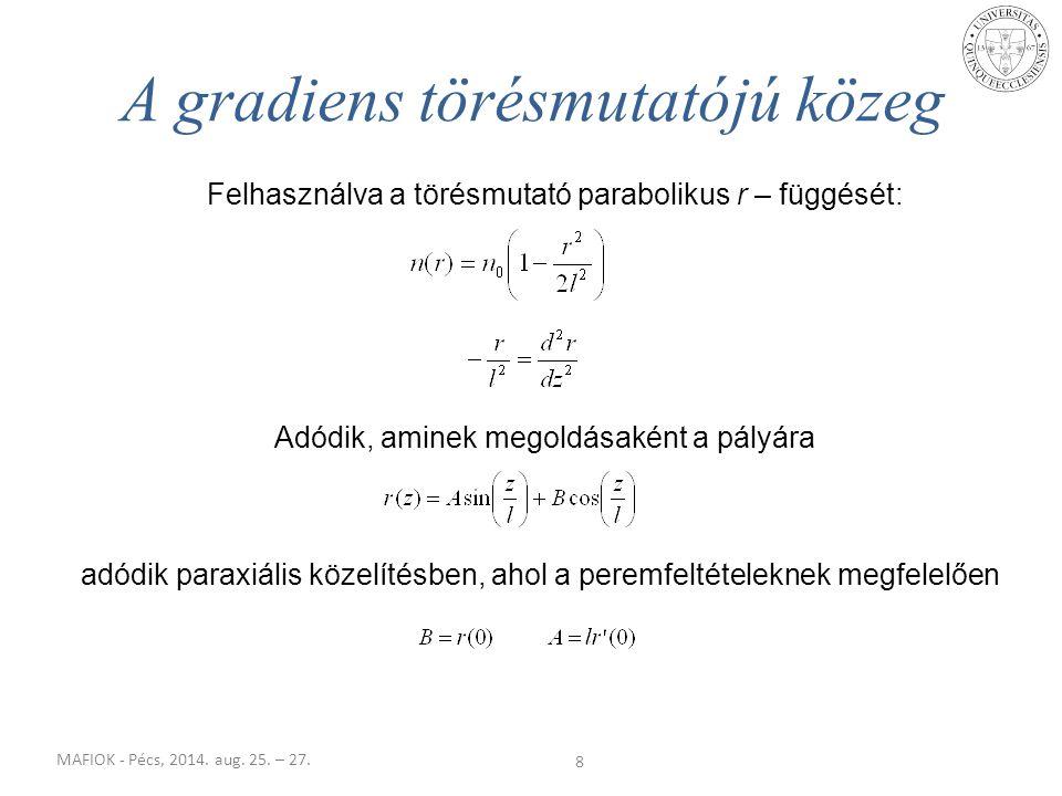MAFIOK - Pécs, 2014. aug. 25. – 27. 8 A gradiens törésmutatójú közeg Felhasználva a törésmutató parabolikus r – függését: Adódik, aminek megoldásaként