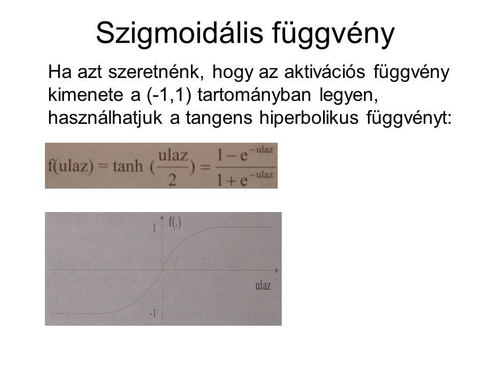 Szigmoidális függvény Ha azt szeretnénk, hogy az aktivációs függvény kimenete a (-1,1) tartományban legyen, használhatjuk a tangens hiperbolikus függv