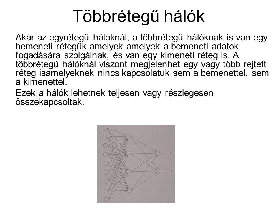 Többrétegű hálók Akár az egyrétegű hálóknál, a többrétegű hálóknak is van egy bemeneti rétegük amelyek amelyek a bemeneti adatok fogadására szolgálnak