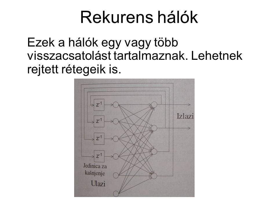Rekurens hálók Ezek a hálók egy vagy több visszacsatolást tartalmaznak. Lehetnek rejtett rétegeik is.