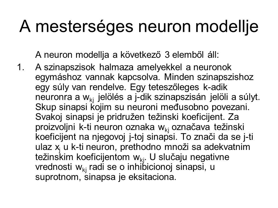 A mesterséges neuron modellje 2.