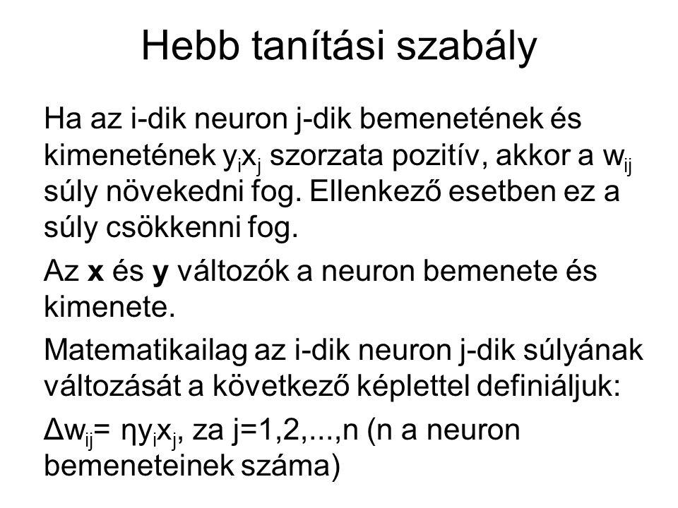 Hebb tanítási szabály Ha az i-dik neuron j-dik bemenetének és kimenetének y i x j szorzata pozitív, akkor a w ij súly növekedni fog. Ellenkező esetben