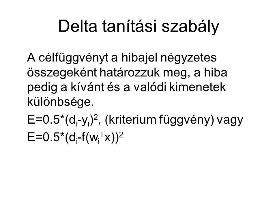 Delta tanítási szabály A célfüggvényt a hibajel négyzetes összegeként határozzuk meg, a hiba pedig a kívánt és a valódi kimenetek különbsége. E=0.5*(d