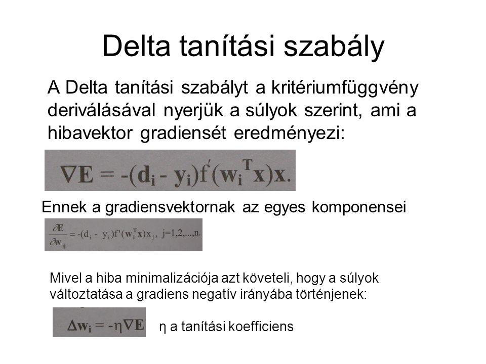 Delta tanítási szabály A Delta tanítási szabályt a kritériumfüggvény deriválásával nyerjük a súlyok szerint, ami a hibavektor gradiensét eredményezi: