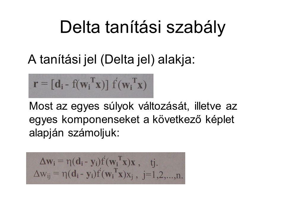 Delta tanítási szabály A tanítási jel (Delta jel) alakja: Most az egyes súlyok változását, illetve az egyes komponenseket a következő képlet alapján s