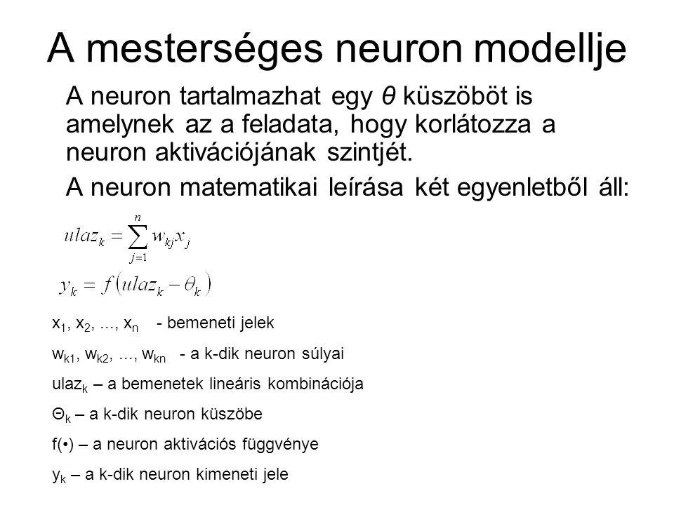 A mesterséges neuron modellje A neuron tartalmazhat egy θ küszöböt is amelynek az a feladata, hogy korlátozza a neuron aktivációjának szintjét. A neur
