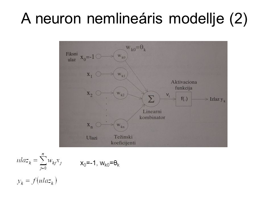 Aktivációs függvények A neuron kimenetének viselkedésében jelentős szerepet játszik a kiválasztott aktivációs függvény.