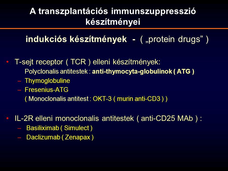 """indukciós készítmények - ( """"protein drugs"""" ) T-sejt receptor ( TCR ) elleni készítmények: Polyclonalis antitestek : anti-thymocyta-globulinok ( ATG )"""