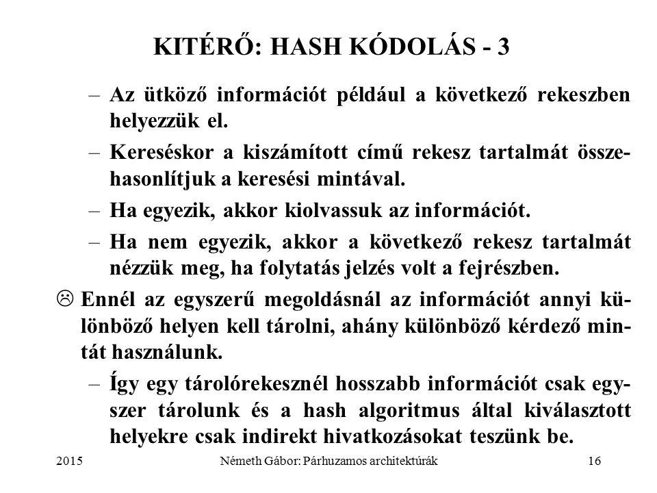 2015Németh Gábor: Párhuzamos architektúrák16 KITÉRŐ: HASH KÓDOLÁS - 3 –Az ütköző információt például a következő rekeszben helyezzük el.