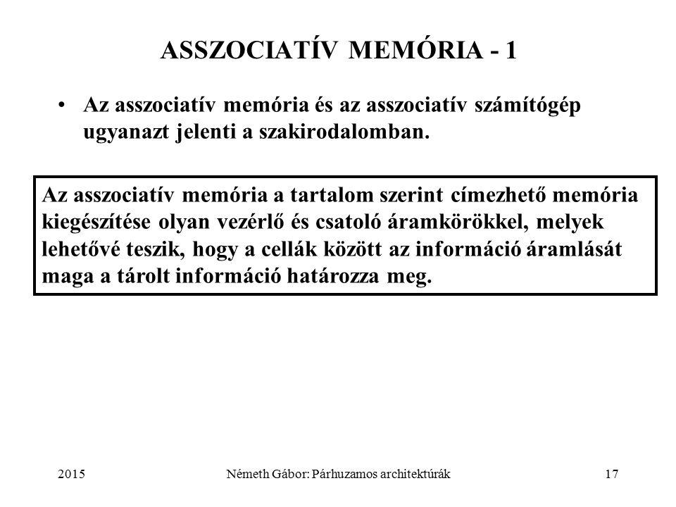 2015Németh Gábor: Párhuzamos architektúrák17 ASSZOCIATÍV MEMÓRIA - 1 Az asszociatív memória és az asszociatív számítógép ugyanazt jelenti a szakirodalomban.
