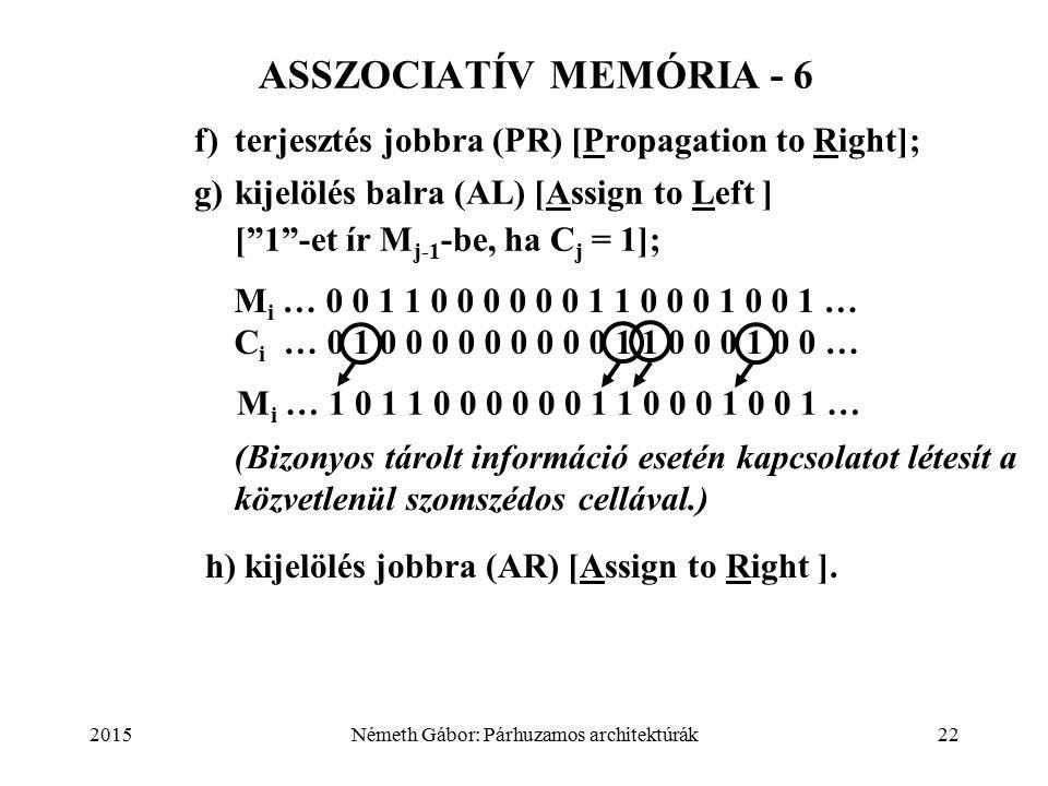 2015Németh Gábor: Párhuzamos architektúrák22 f)terjesztés jobbra (PR) [Propagation to Right]; g)kijelölés balra (AL) [Assign to Left ] [ 1 -et ír M j-1 -be, ha C j = 1]; ASSZOCIATÍV MEMÓRIA - 6 h) kijelölés jobbra (AR) [Assign to Right ].