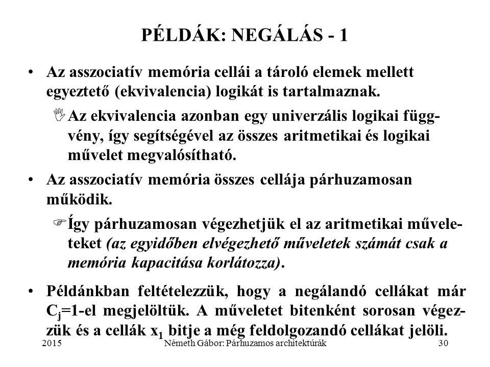 2015Németh Gábor: Párhuzamos architektúrák30 PÉLDÁK: NEGÁLÁS - 1 Az asszociatív memória cellái a tároló elemek mellett egyeztető (ekvivalencia) logikát is tartalmaznak.