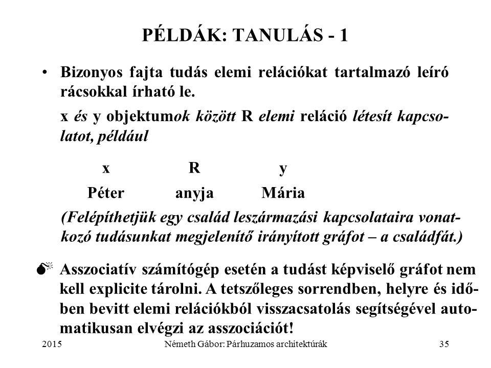 2015Németh Gábor: Párhuzamos architektúrák35 PÉLDÁK: TANULÁS - 1 Bizonyos fajta tudás elemi relációkat tartalmazó leíró rácsokkal írható le.