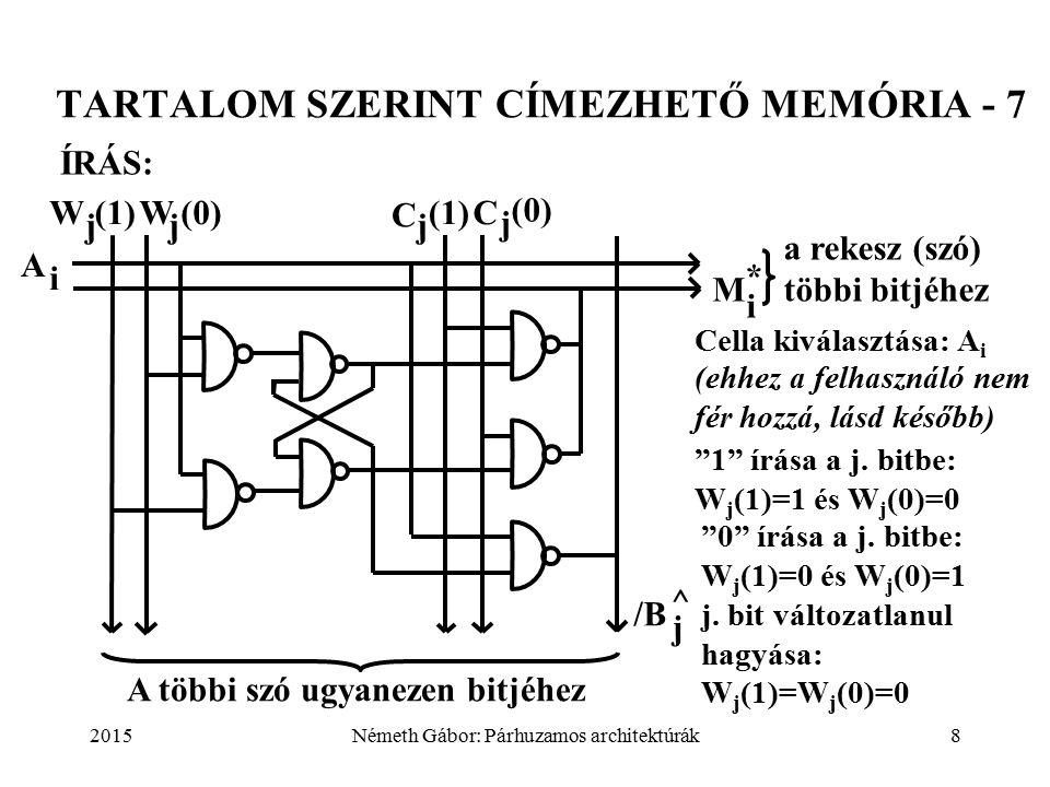 2015Németh Gábor: Párhuzamos architektúrák8 TARTALOM SZERINT CÍMEZHETŐ MEMÓRIA - 7 Cella kiválasztása: A i W j (1)W j (0) C j (1)C j (0) A i M i * /B j ^ a rekesz (szó) többi bitjéhez A többi szó ugyanezen bitjéhez ÍRÁS: (ehhez a felhasználó nem fér hozzá, lásd később) 1 írása a j.