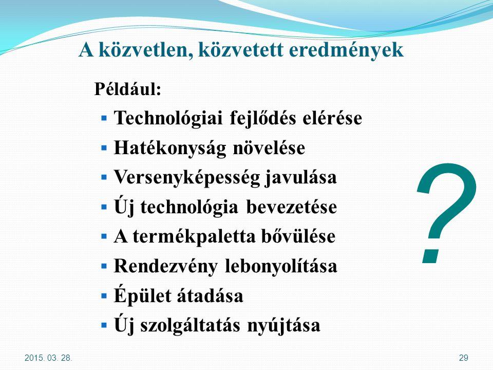 A közvetlen, közvetett eredmények Például:  Technológiai fejlődés elérése  Hatékonyság növelése  Versenyképesség javulása  Új technológia bevezeté