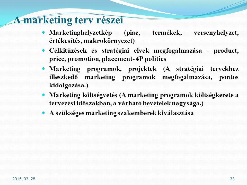 A marketing terv részei Marketinghelyzetkép (piac, termékek, versenyhelyzet, értékesítés, makrokörnyezet) Célkitűzések és stratégiai elvek megfogalmaz