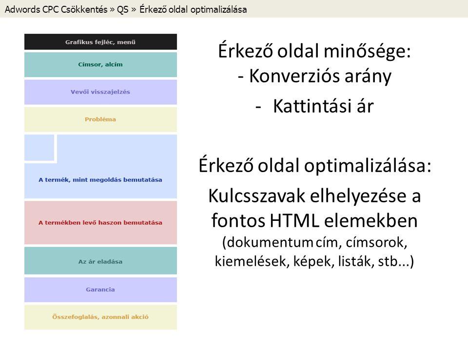Adwords CPC Csökkentés » QS » Érkező oldal optimalizálása Érkező oldal minősége: - Konverziós arány -Kattintási ár Érkező oldal optimalizálása: Kulcsszavak elhelyezése a fontos HTML elemekben (dokumentum cím, címsorok, kiemelések, képek, listák, stb...)