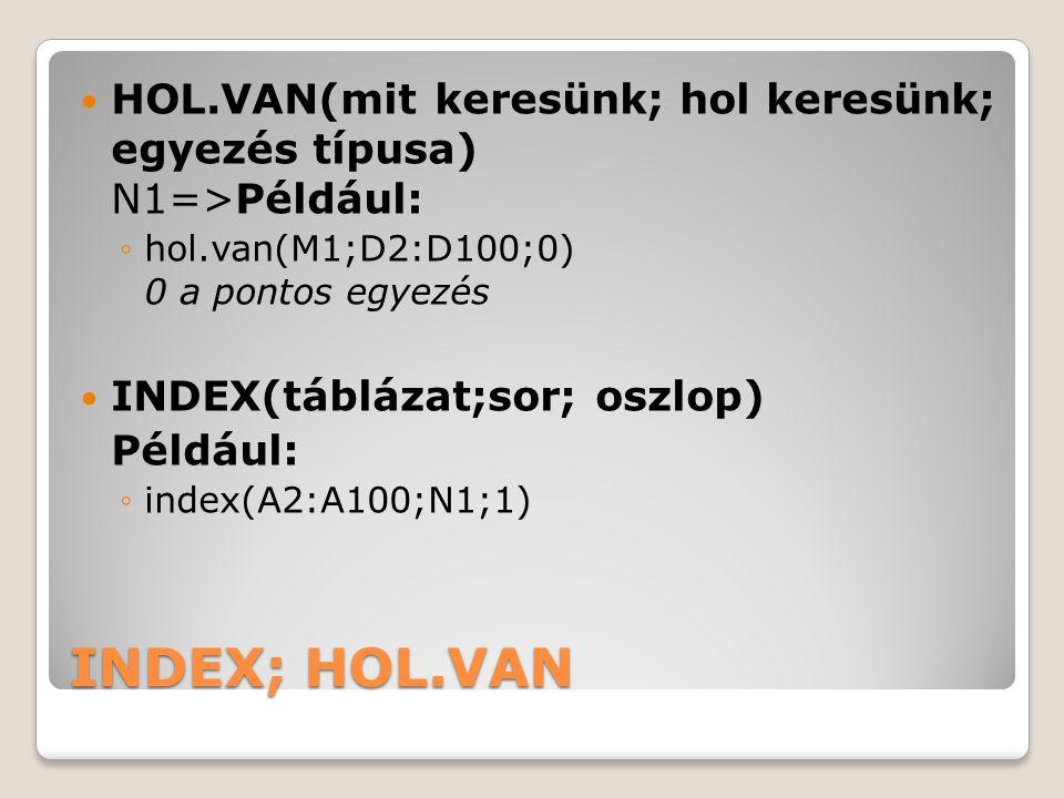 INDEX; HOL.VAN HOL.VAN(mit keresünk; hol keresünk; egyezés típusa) N1=>Például: ◦hol.van(M1;D2:D100;0) 0 a pontos egyezés INDEX(táblázat;sor; oszlop)