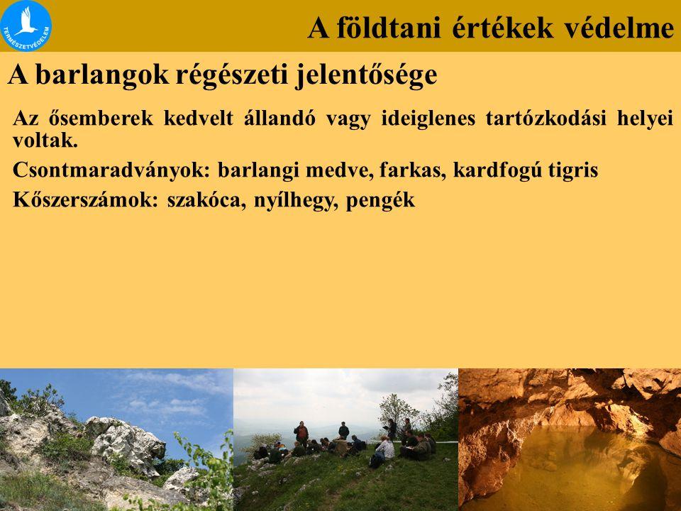 A földtani értékek védelme A barlangok régészeti jelentősége Az ősemberek kedvelt állandó vagy ideiglenes tartózkodási helyei voltak. Csontmaradványok