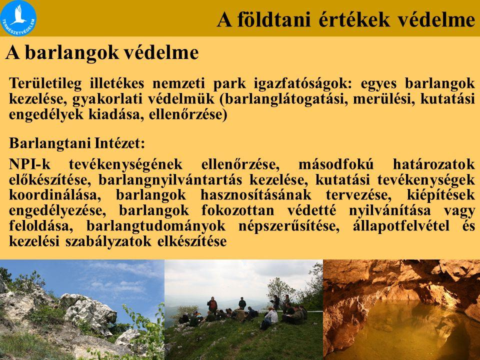 A földtani értékek védelme A barlangok védelme Területileg illetékes nemzeti park igazfatóságok: egyes barlangok kezelése, gyakorlati védelmük (barlan