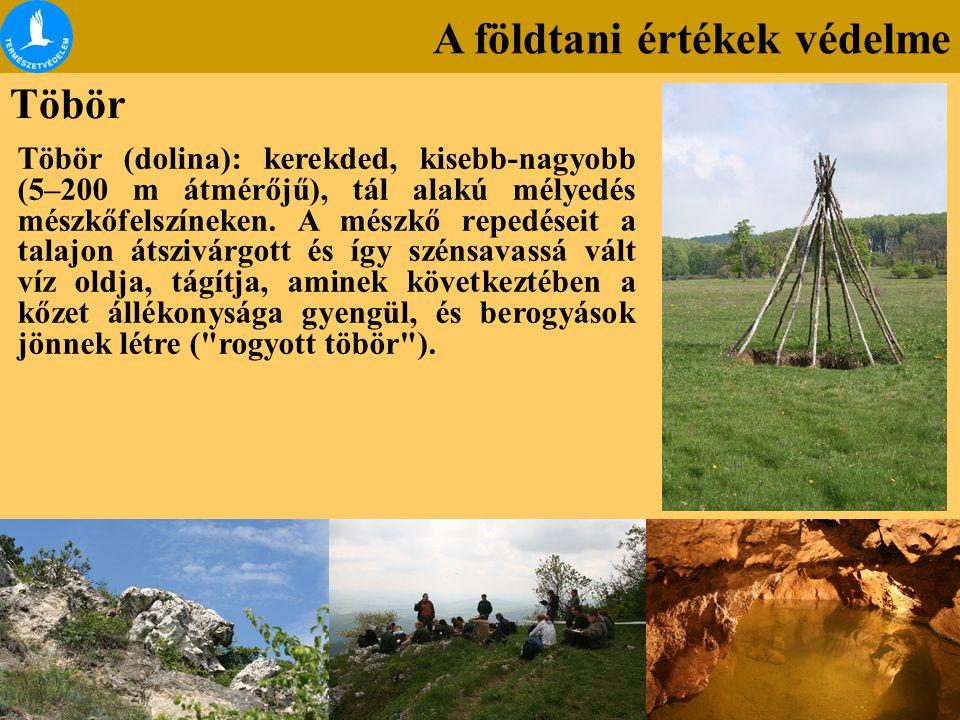 A földtani értékek védelme Töbör Töbör (dolina): kerekded, kisebb-nagyobb (5–200 m átmérőjű), tál alakú mélyedés mészkőfelszíneken. A mészkő repedései