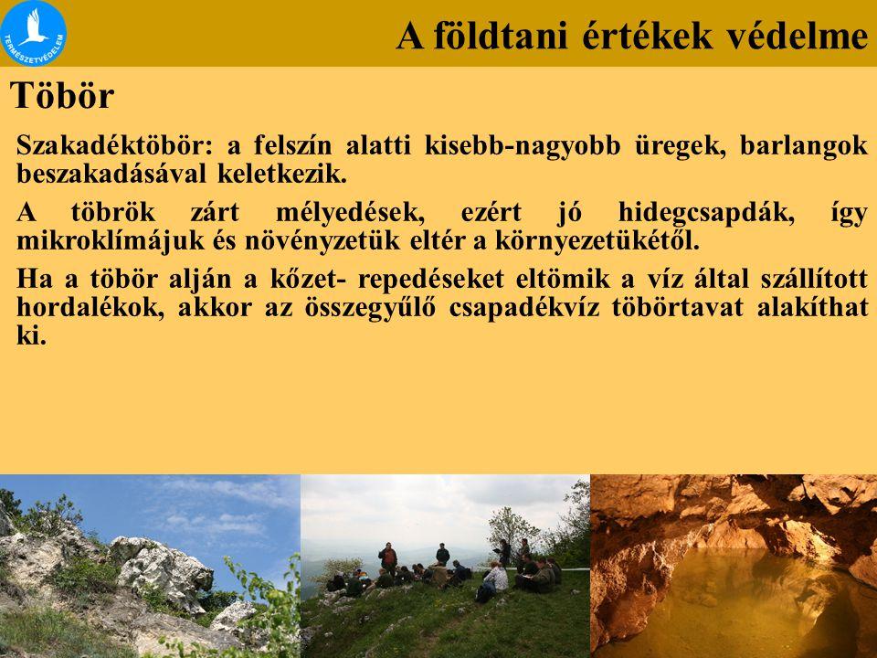 A földtani értékek védelme Töbör Szakadéktöbör: a felszín alatti kisebb-nagyobb üregek, barlangok beszakadásával keletkezik. A töbrök zárt mélyedések,